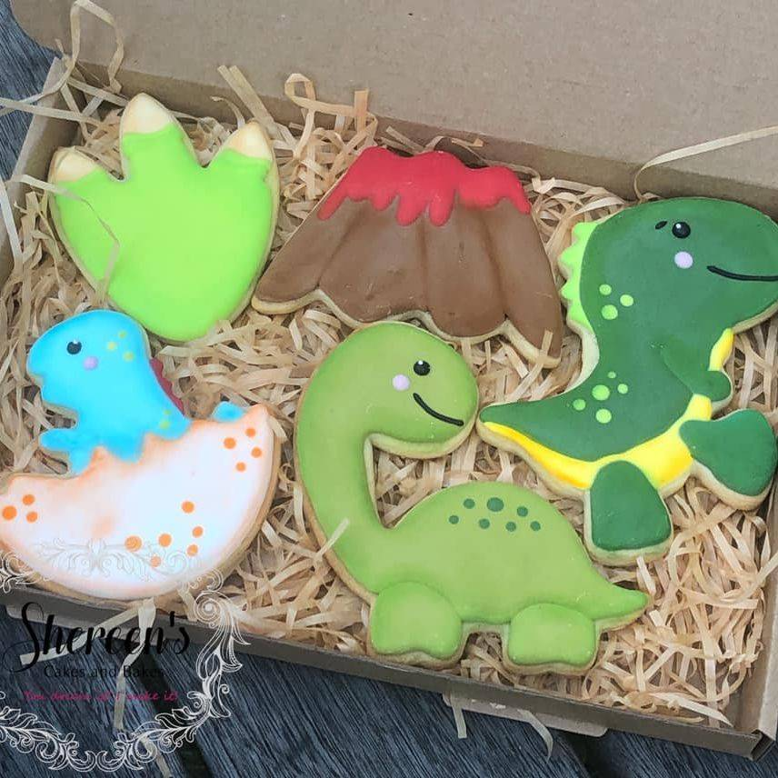 Iced Cookies Biscuits dinosaur egg foot print volcano