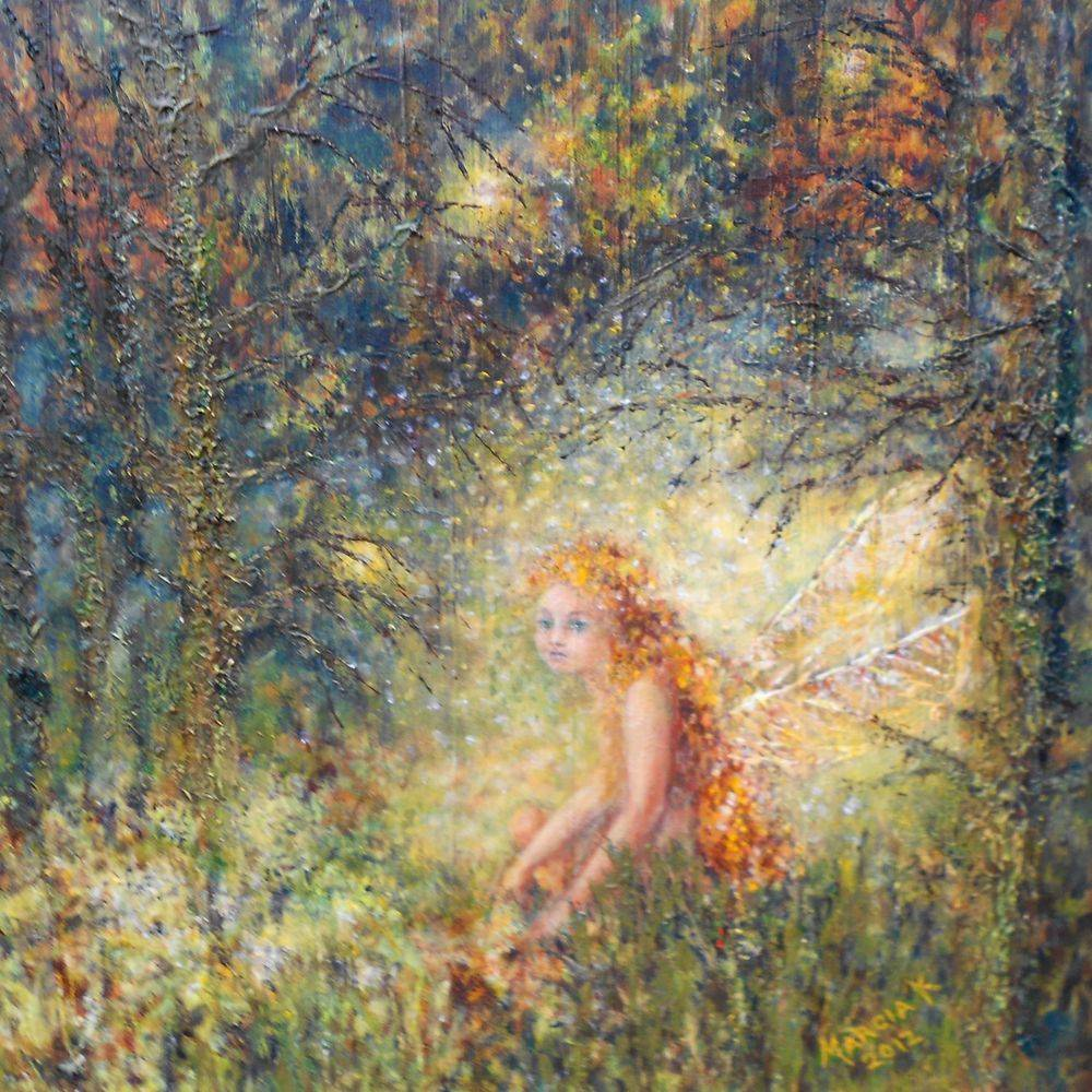 Sad fairy. Oil painting by Marcia Kuperberg