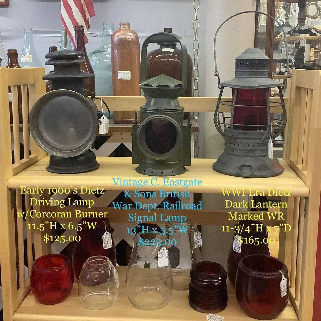 Vintage C. Eastgate & Sons, British War Dept., Railroad Signaling Lamp, w/ Red & Green Rotating Lenses   $225.00