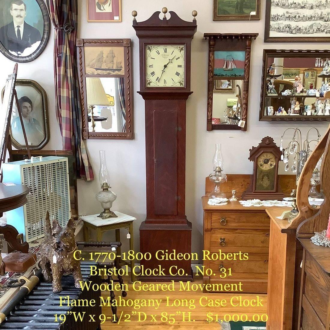 C. 1770-1800 Gideon Roberts, Bristol Clock Co. No. 31 Wooden Geared Movement, Flame Mahogany Long Case Clock   $1,000.00