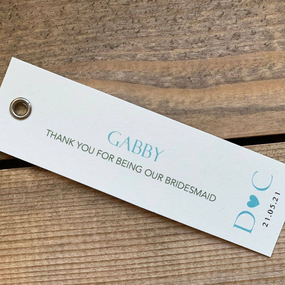 Personalised wedding gift tags in teal and ivory