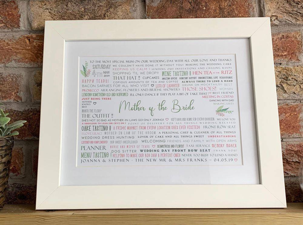 Mother of the Bride Gift for wedding day, personalised gift for mother of the bride