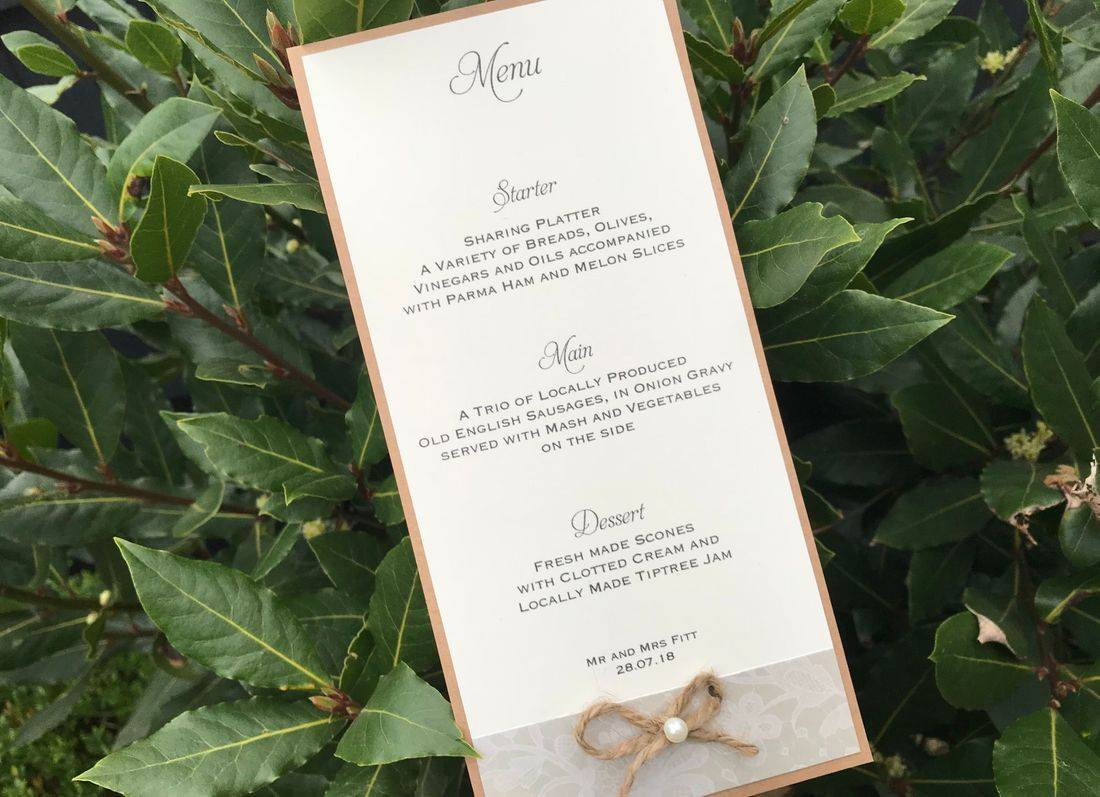 Rustic Single Card menu