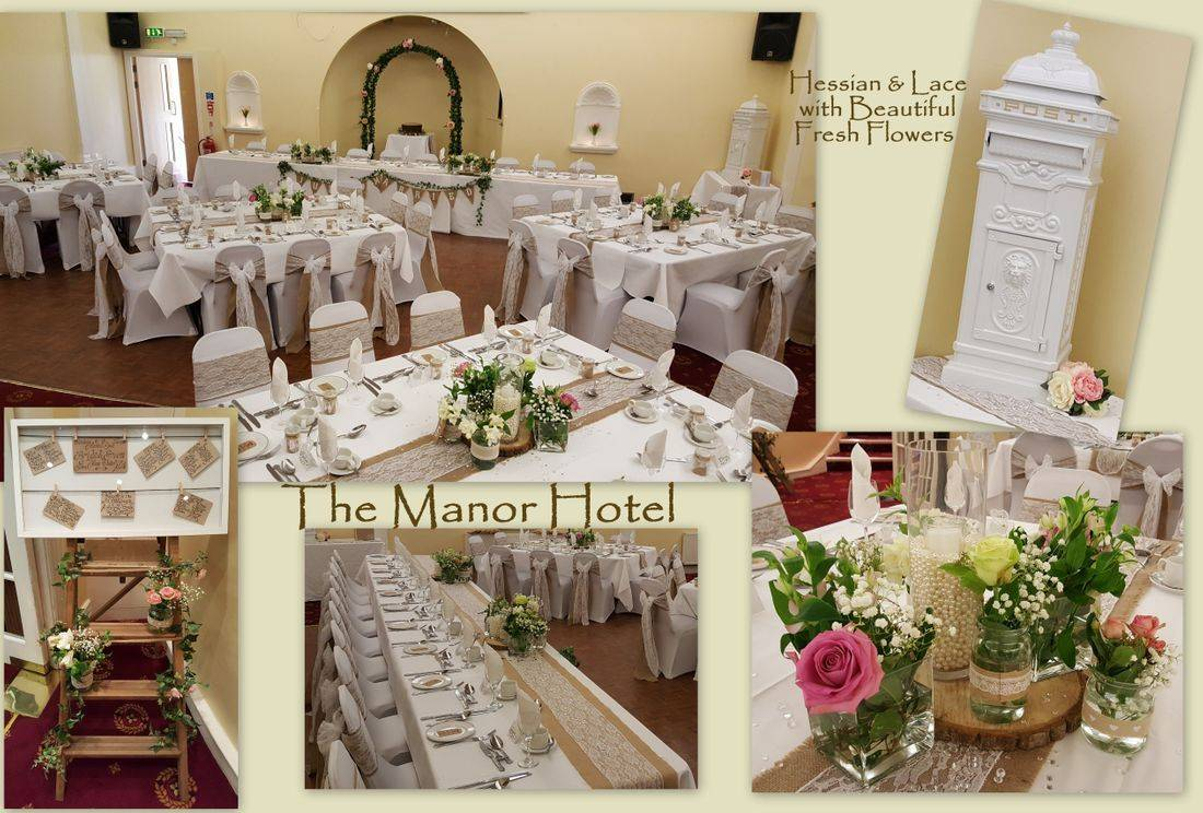 Manor Hotel, Exmouth- Hessian & Lace,  Floral Centrepieces