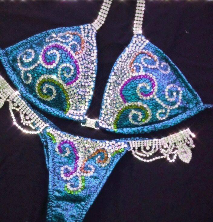 turquoise wbff bikini