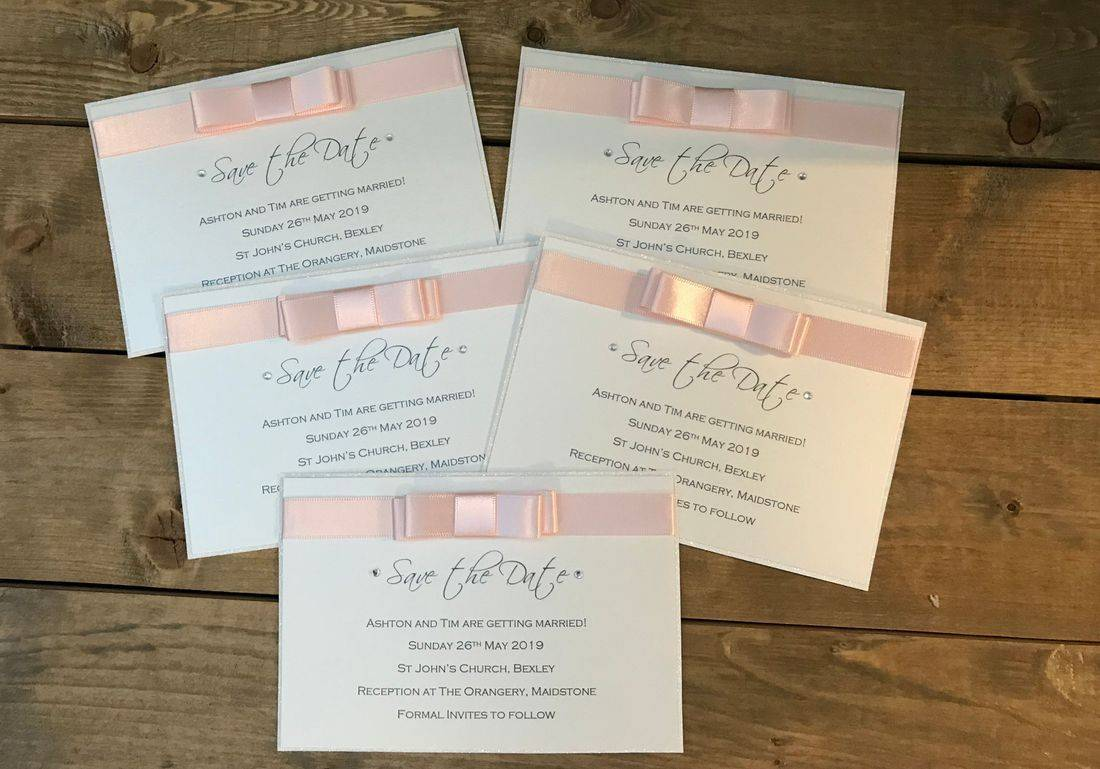 Save the Date Cards with ribbon bow