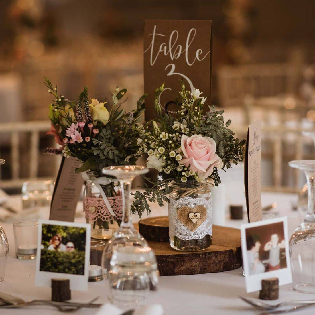 Rustic wedding centrepiece at The Old Vicarage Venue captured by Robin Goodlad Photography with flowers by Concept Flowers