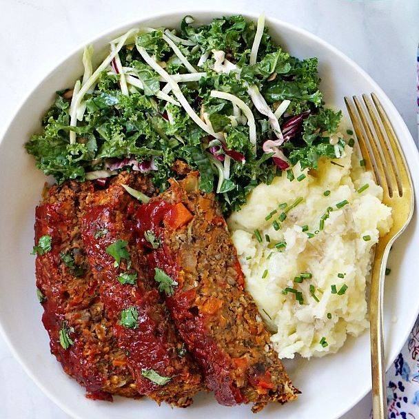 Meatloaf,Mash Cauliflower  with Greens