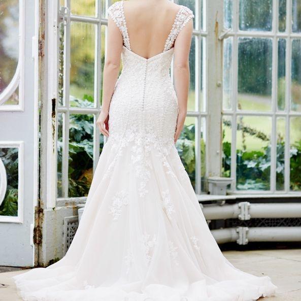 Mermaid shape wedding dress, ivory, beaded, straps