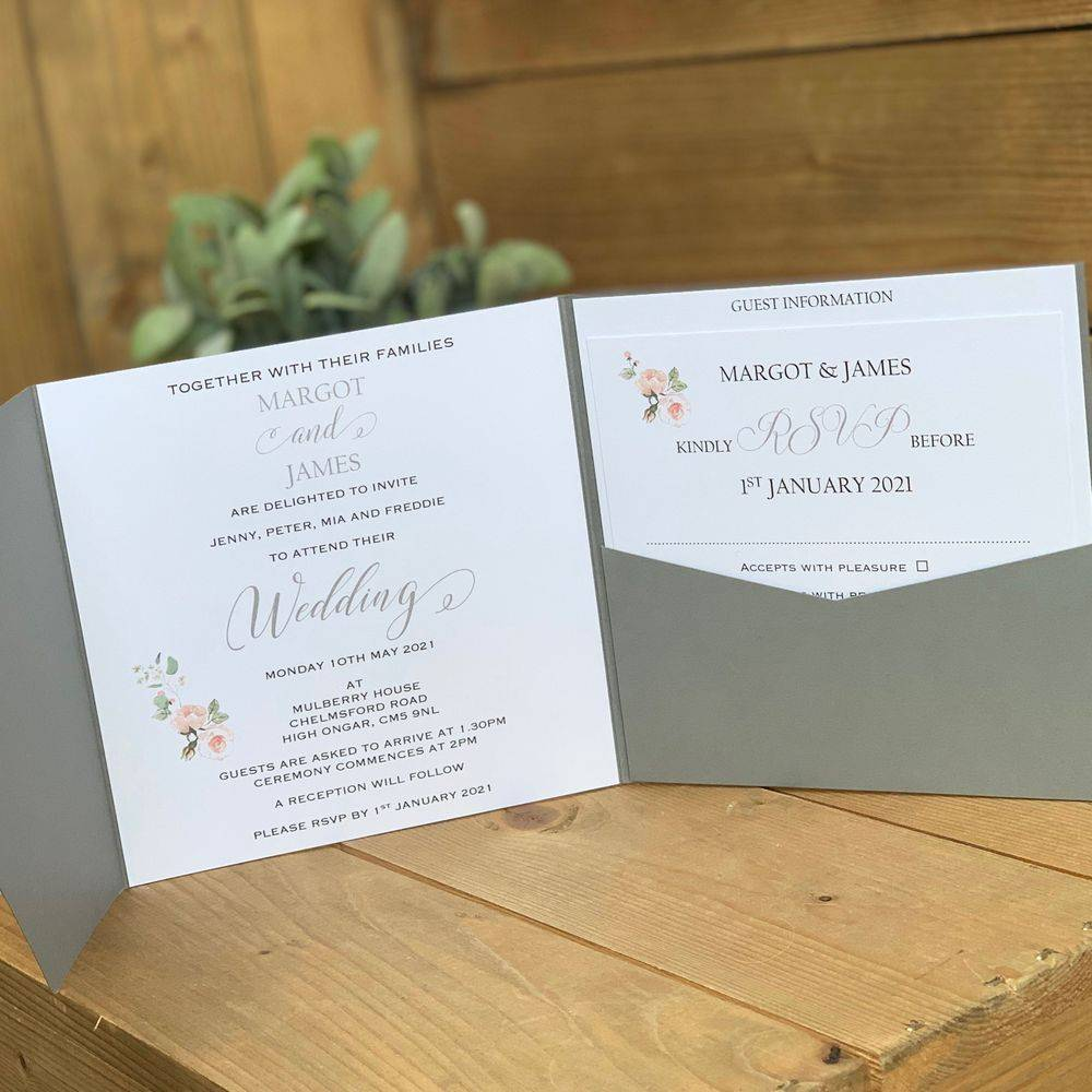 Smoke Grey and White Wedding Invitation