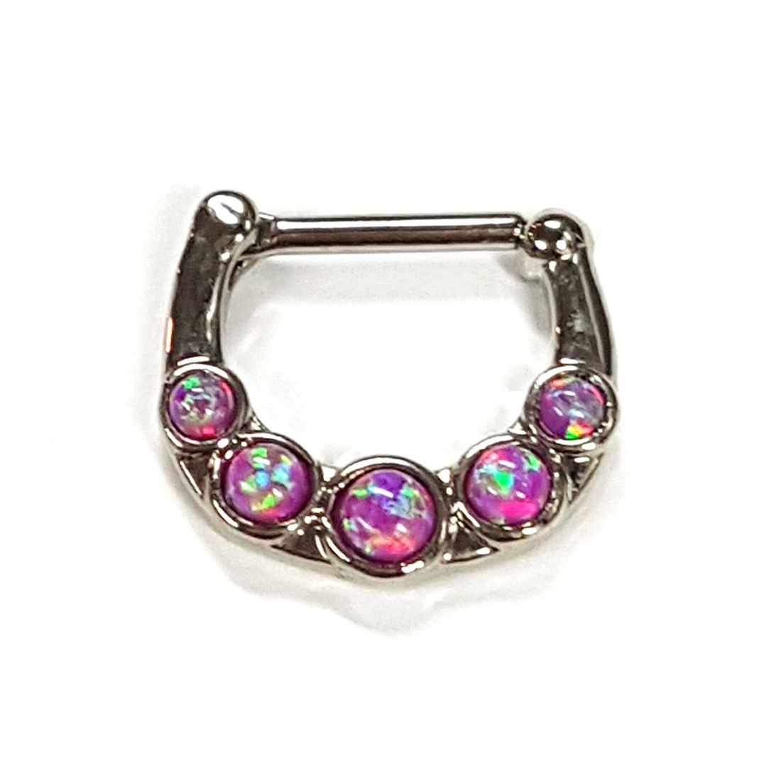1.2 5 Stone Pink Opal titanium septum clicker available at Kazbah online and our Leicester City Centre Shop