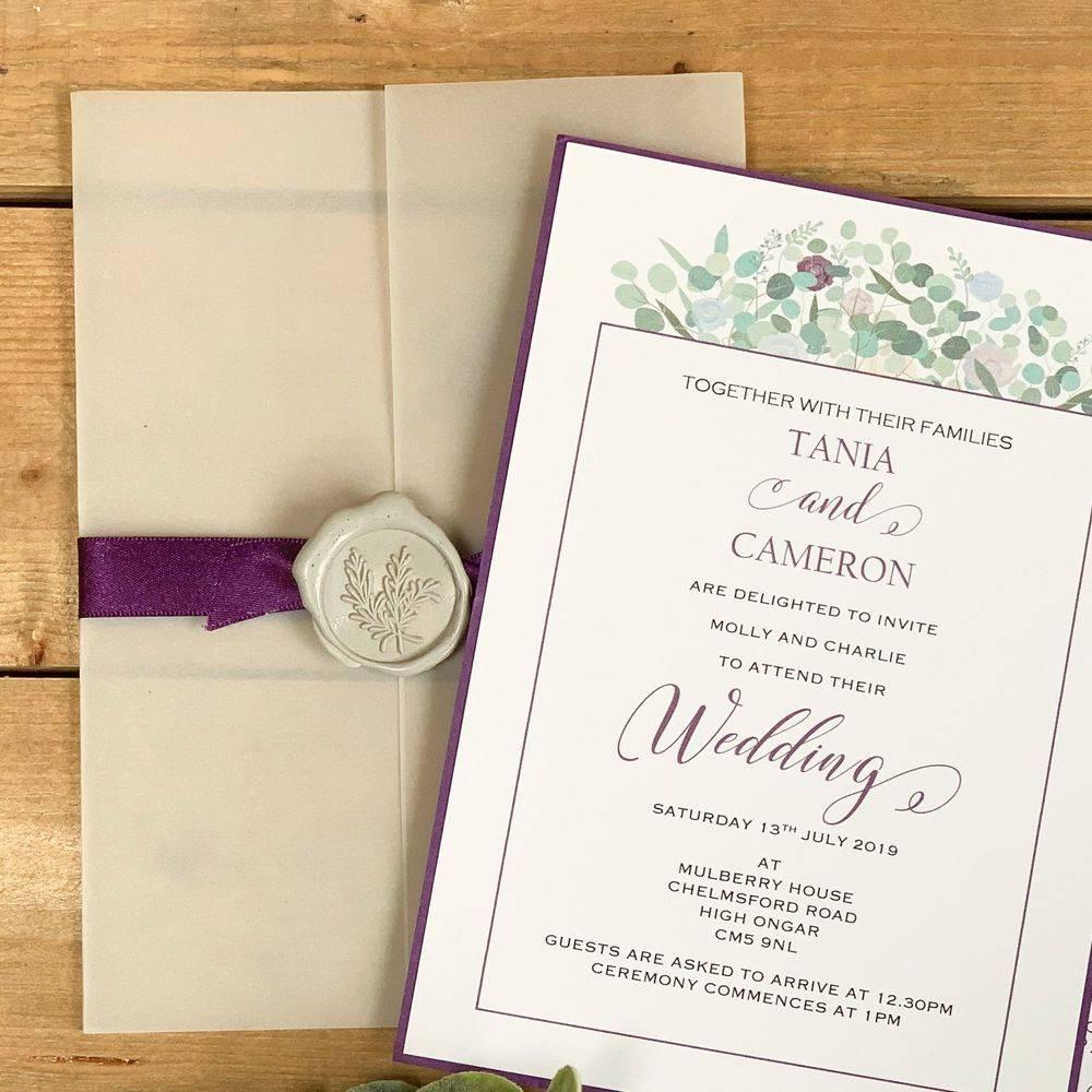 Purple, Lilac, Blue and Eucalyptus, Sage Wax Sealed Invitation