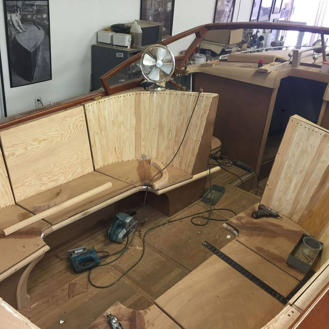 interior build on 30' shepherd boat