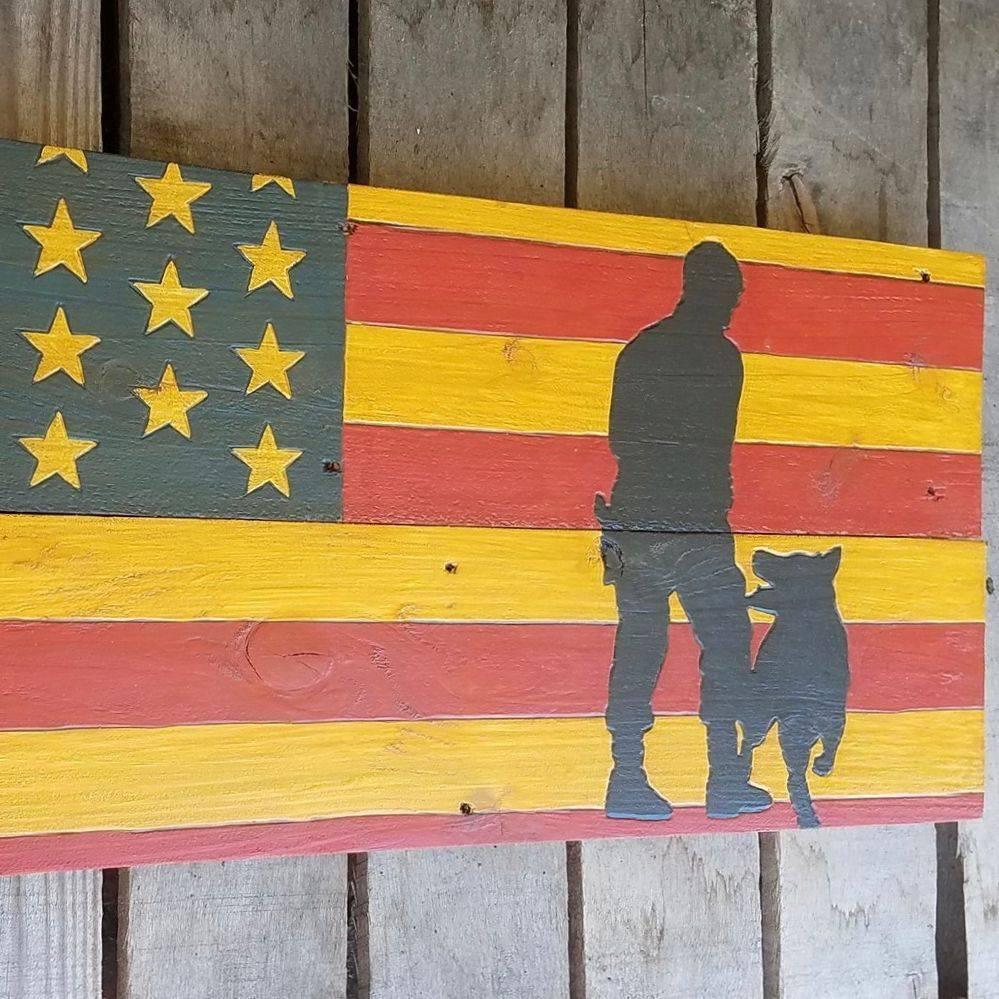 USA Handmade Reclaimed Pallet Wood American Police K-9 Dog  Flag