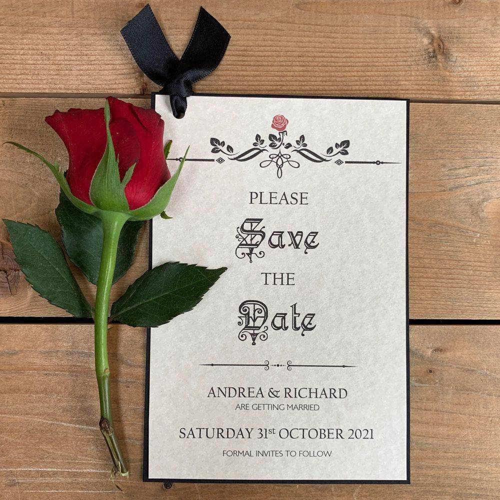 Gothic Style Save the Date, Beauty and the Beast Save the Date