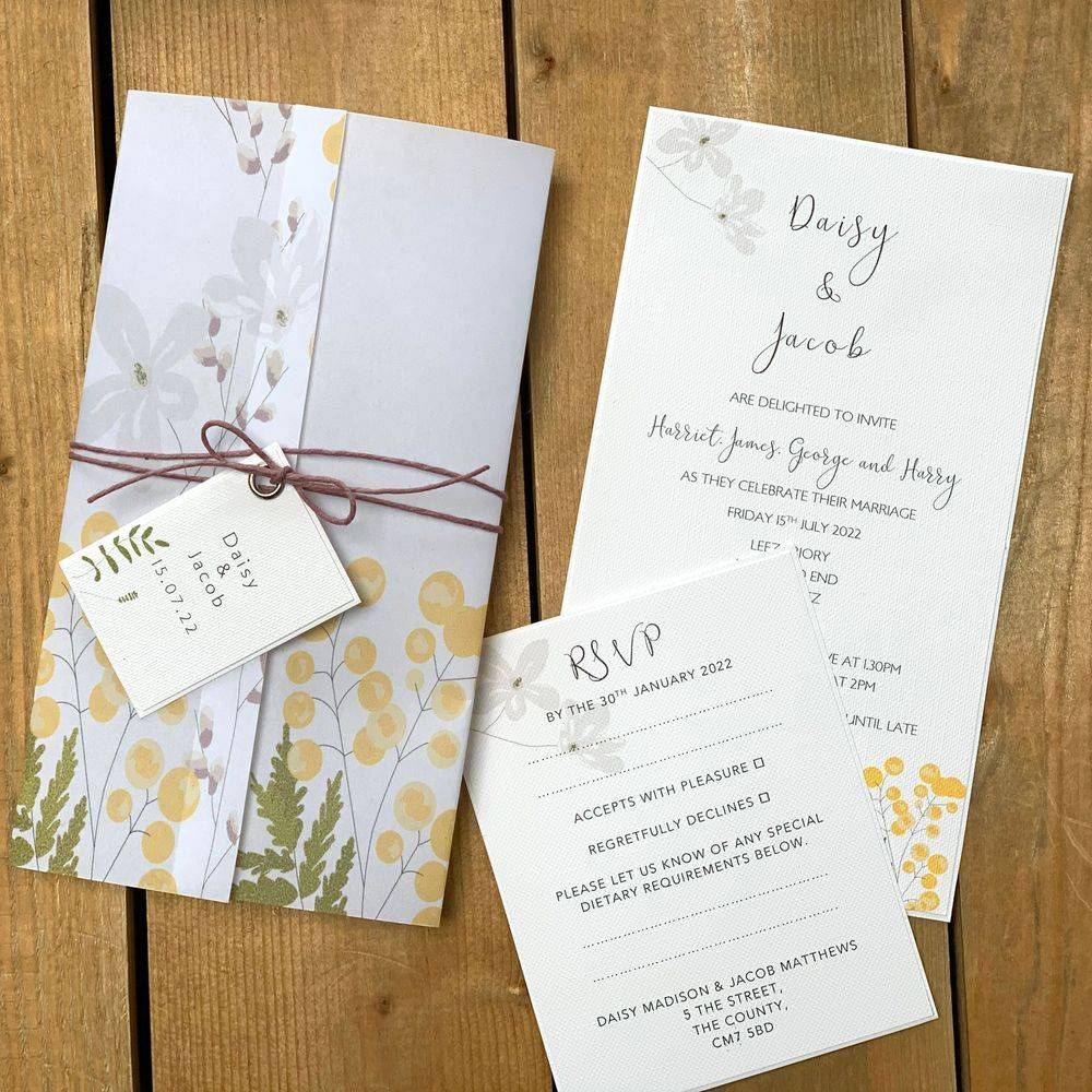 Wedding Invitation in lemon, yellow and white