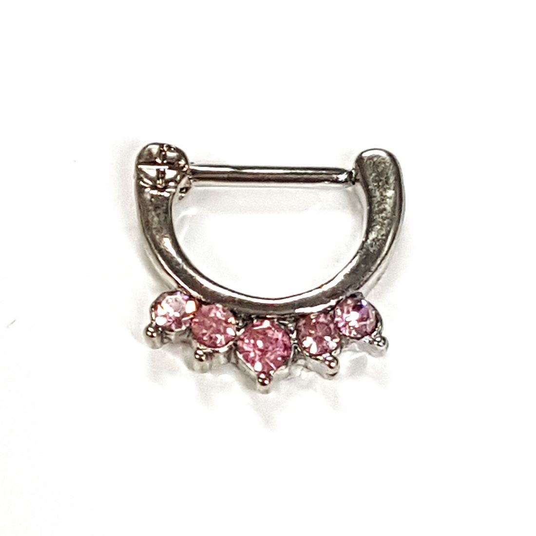 1.2 pink crystal titanium septum clicker  available at Kazbah online and our Leicester City Centre Shop