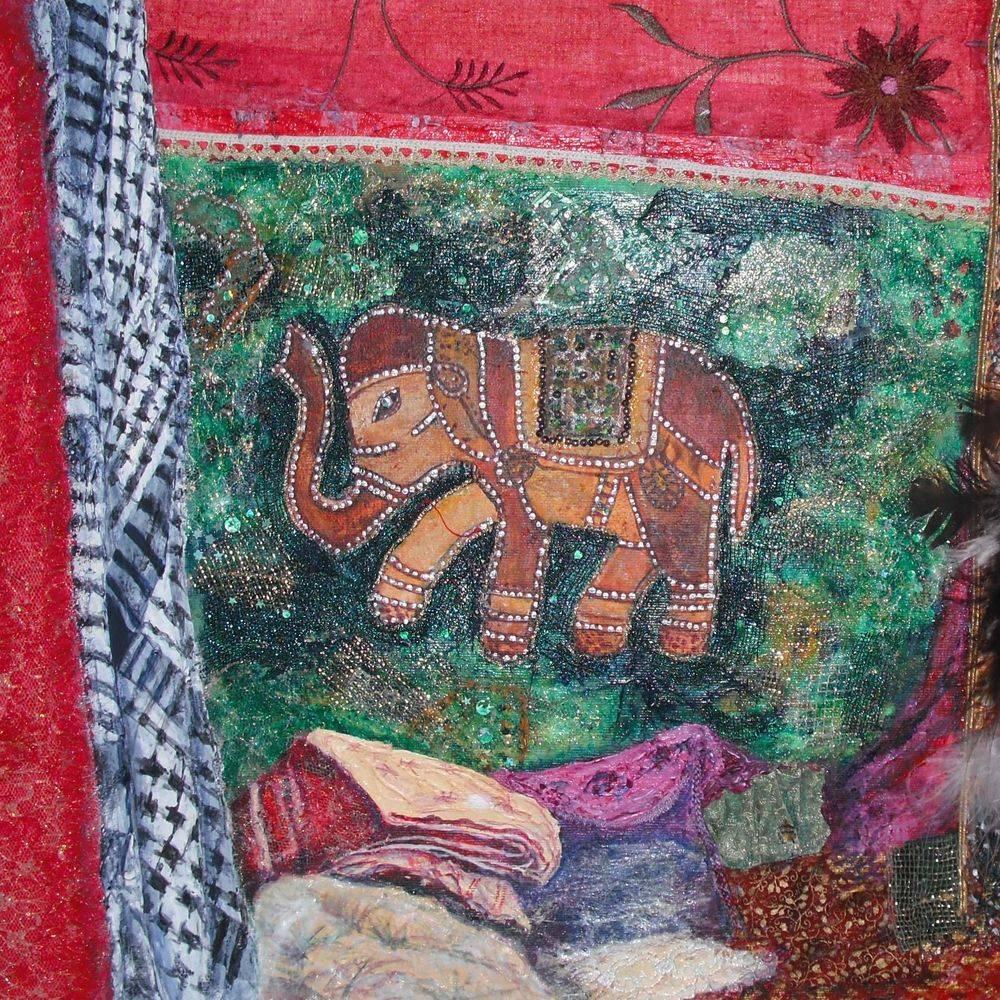 Elephant mixed media painting by Marcia Kuperberg