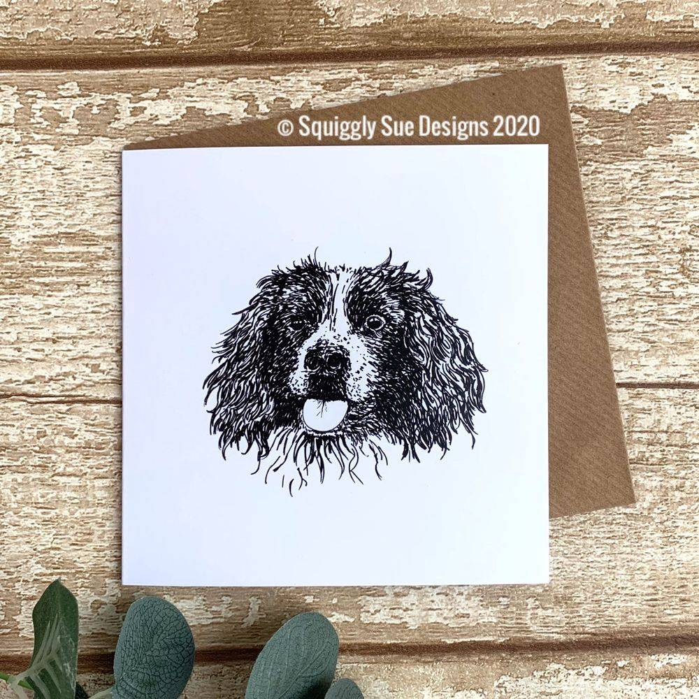 Springer spaniel card from a pen & ink sketch perfect for dog lover