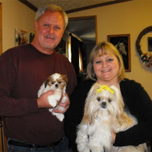 """CINDY BAKER (AKA Wonder Woman) and STAN VINES (AKA The Dog Whisperer) WITH ROXIE AND THEIR NEWEST ADDITION, SOPHIE MARIE I call Stan the """"Dog Whisperer"""" because I was amazed to see all the tricks he has taught Roxie."""
