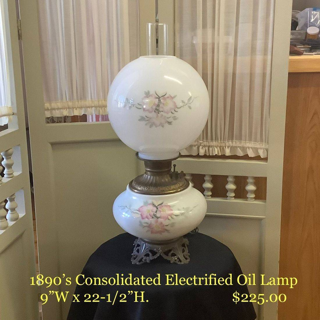 1890's Consolidated Electrified Oil Lamp  $225.00