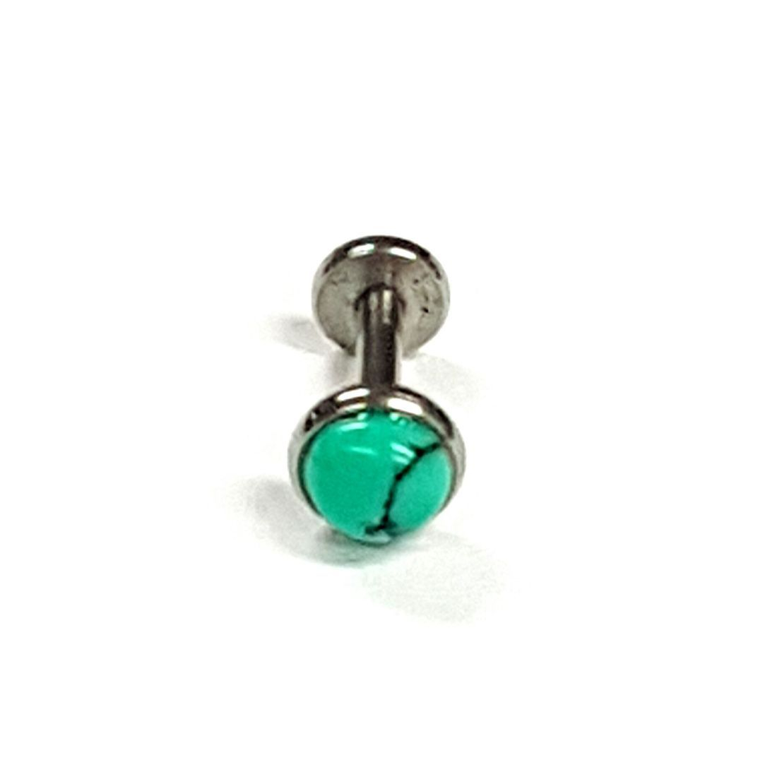 1.2mm x 6mm Turquoise Flat Back Bar 5mm Ball    available at Kazbah online and our Leicester City Centre Shop