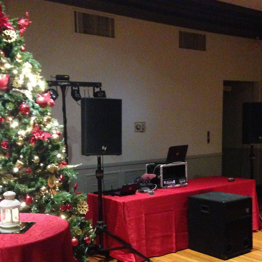 Mr. Productions DJ Service DJ'n a Christmas Party at the Scottish Rite in Hamilton.