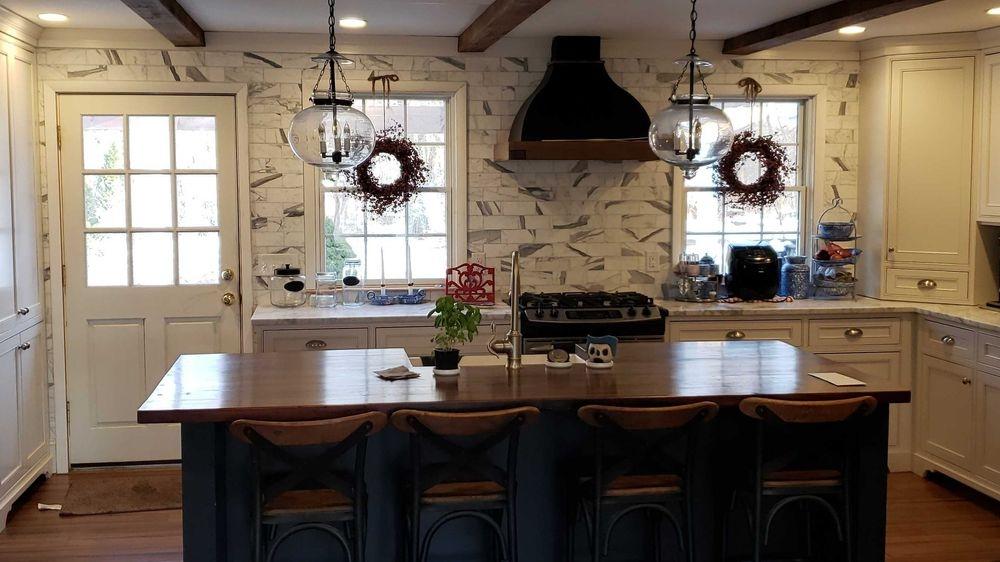 Newly remodeled kitchen including custom-made wood island - Horsham, PA