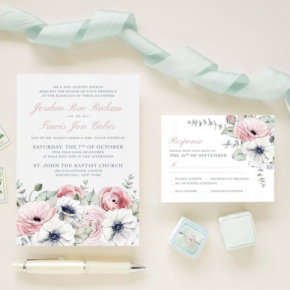 Delicate blush and navy floral wedding invitations