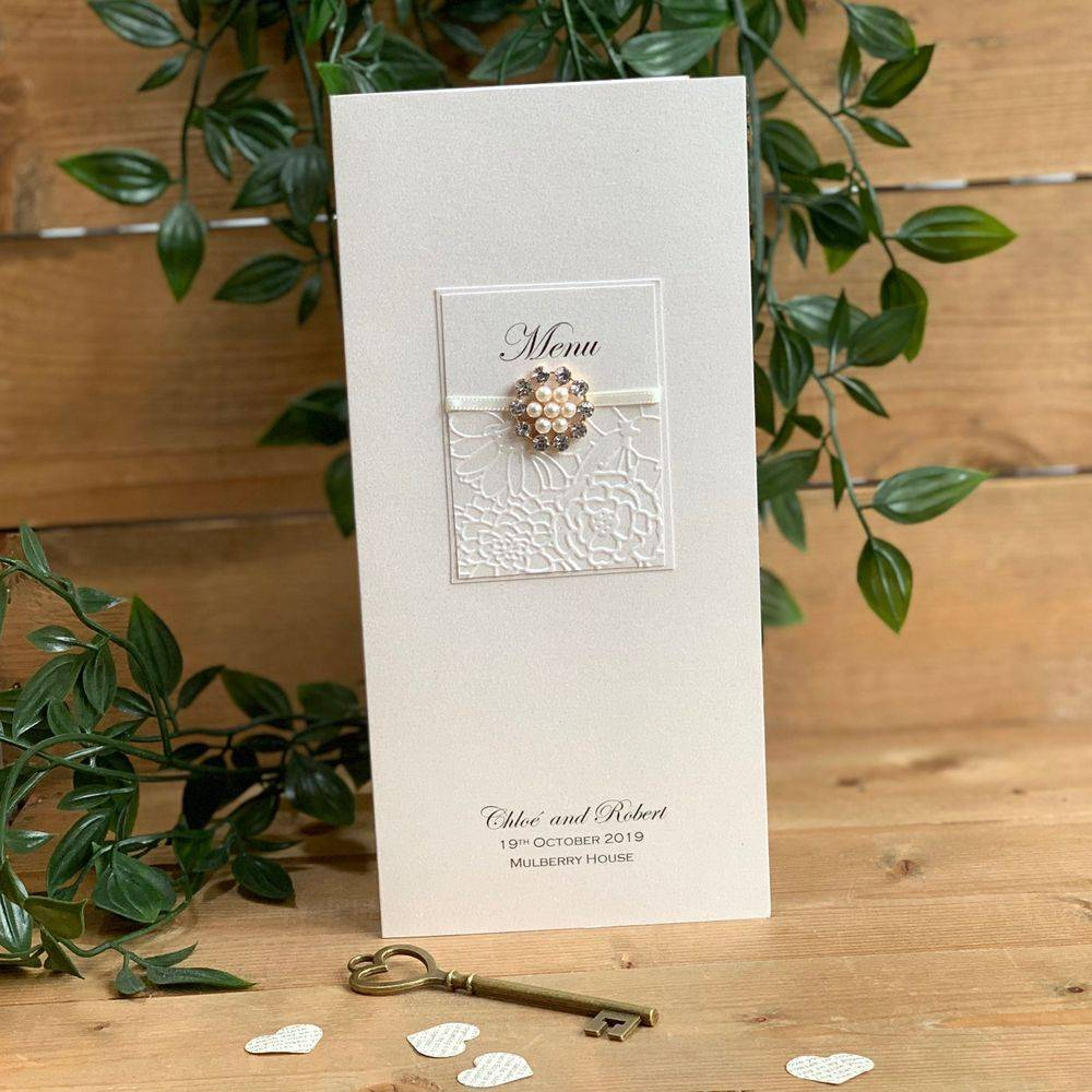 Ivory Menu Card with pearls and crystals