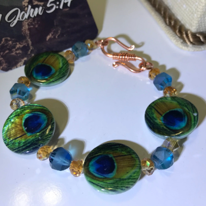 unique women's peacock bracelet, peacock colored bracelet, green crystal bracelet, crystal peacock bracelet, brass hook clasp bracelet