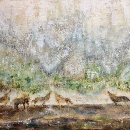 Wolves, yellowstone, oil painting of wolves, oil and cold wax painting of wolves, abstract painting of wolves