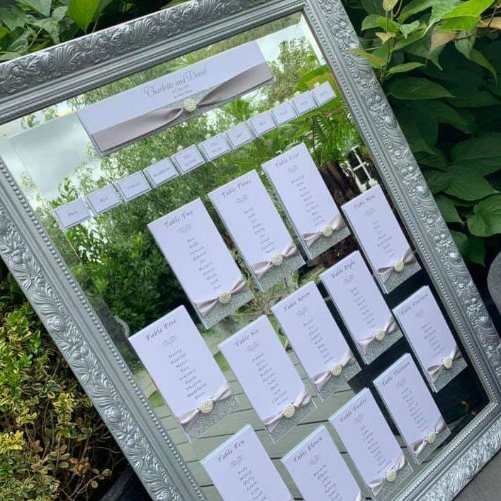 White and Silver glitter Tableplan for mirror