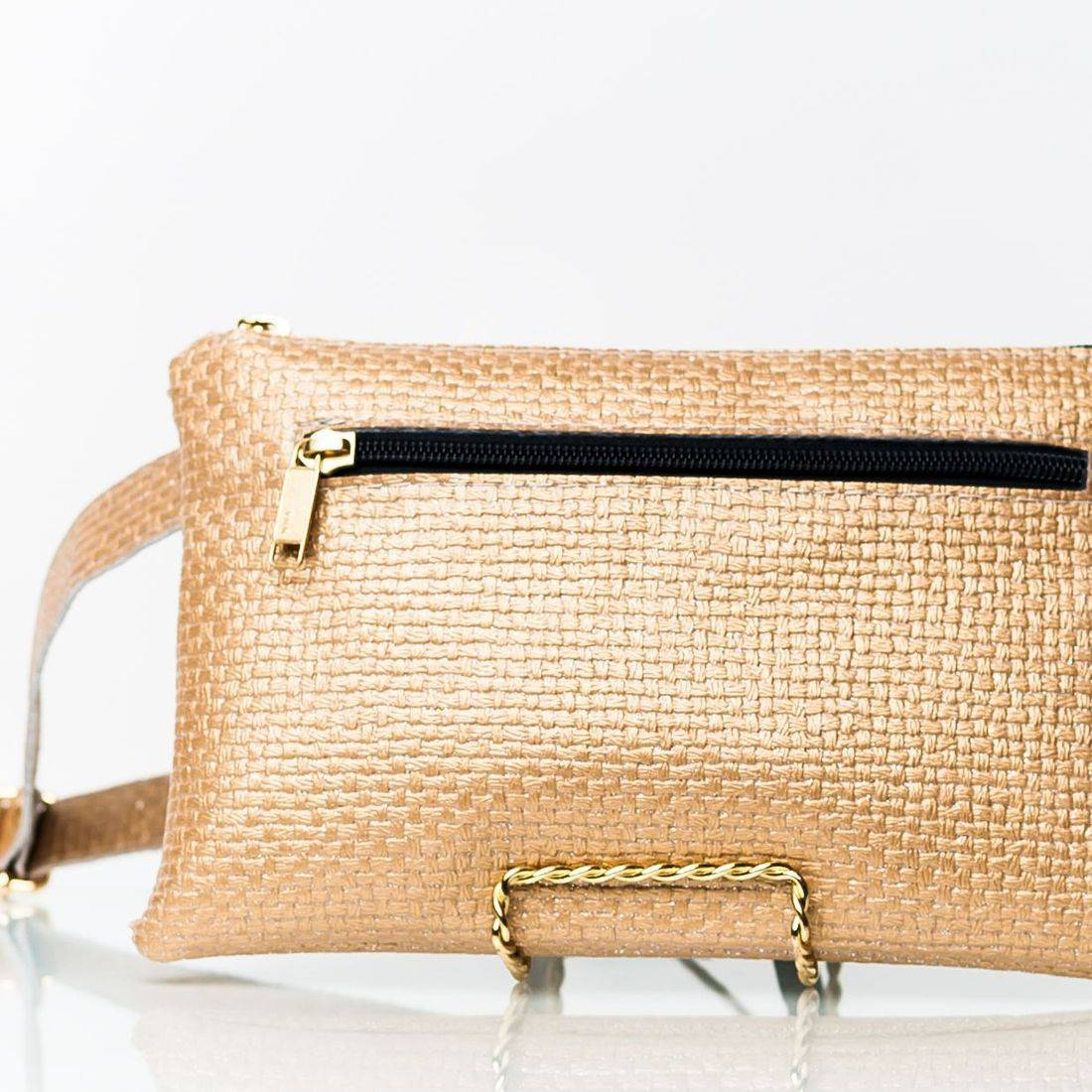 High Quality Vegan Leather Gold Zippered Fanny Pack