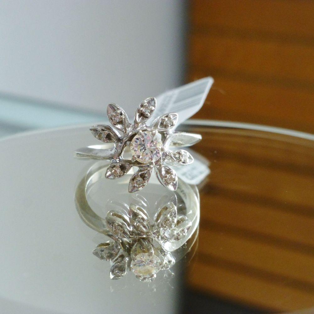 white gold diamond cluster flower ring