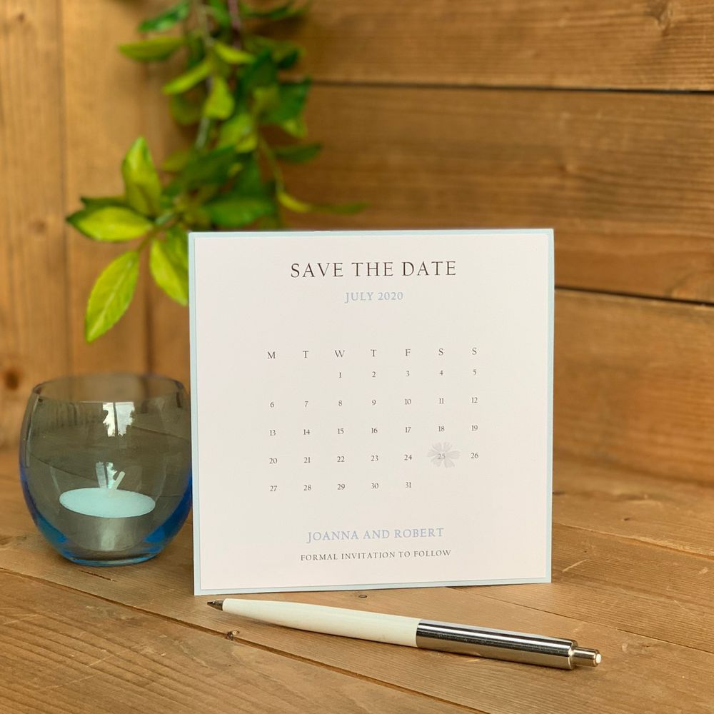 Save the Date - Pale blue and white - with calendar