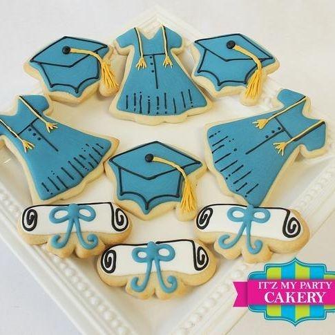 Blue Graduation Gown Cap Diploma cookies Milwaukee