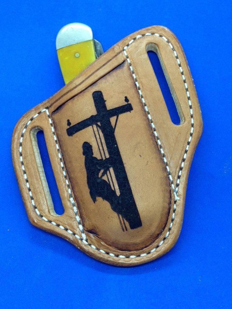 lineman , leather sheath , case sheath , lineman tooled , laser engraved , stockman sheath