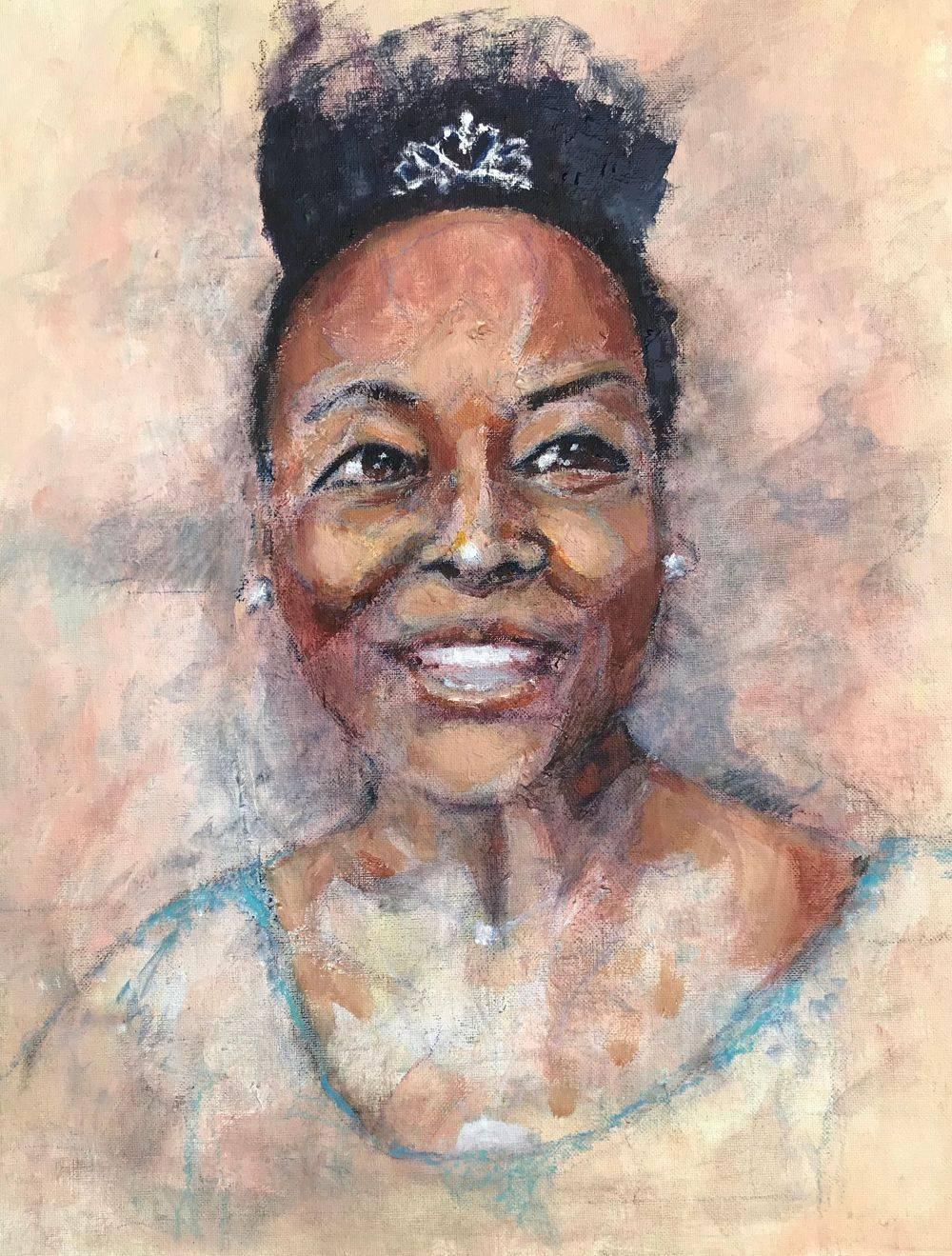 Baroness Floella Benjamin, portrait by Marcia Kuperberg
