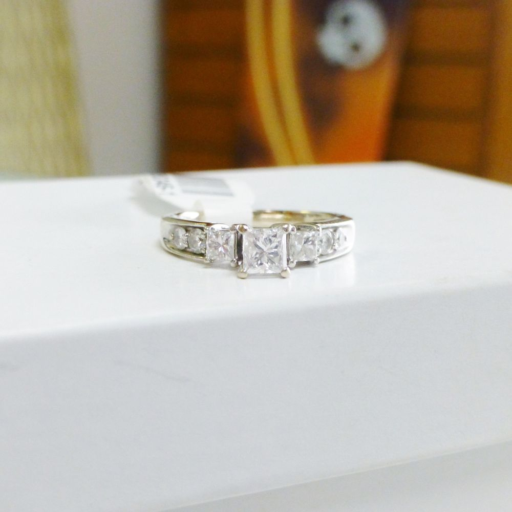 Princess Cut Diamond Three Stone Side Accent White Gold Engagement Ring