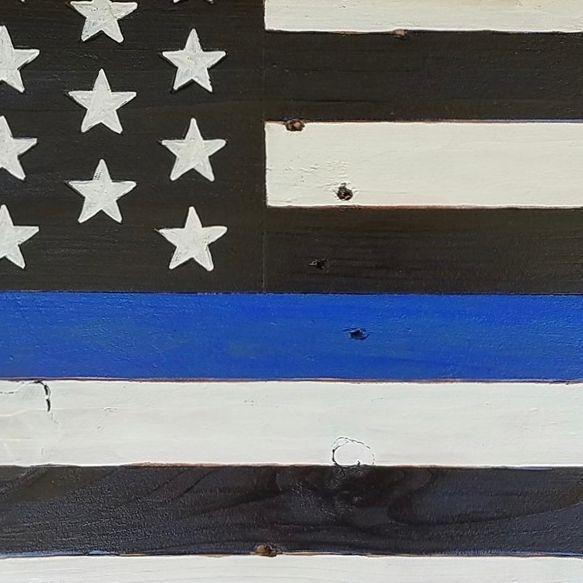 USA Handmade Reclaimed Pallet Wood American Police Blue Lives Flag