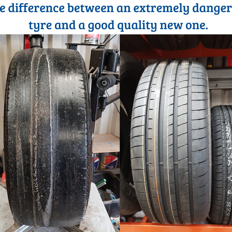 Dangerous car tyres, slicks, worn out