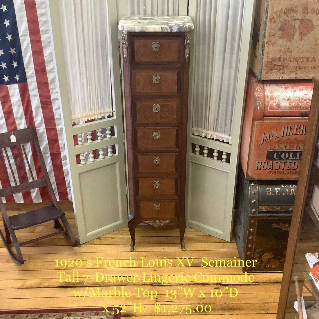1920's French Louis XV Semainer 7-Drawer Lingerie Commode   $1,275.00