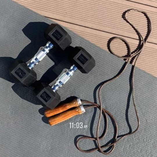workout equipment on a dock