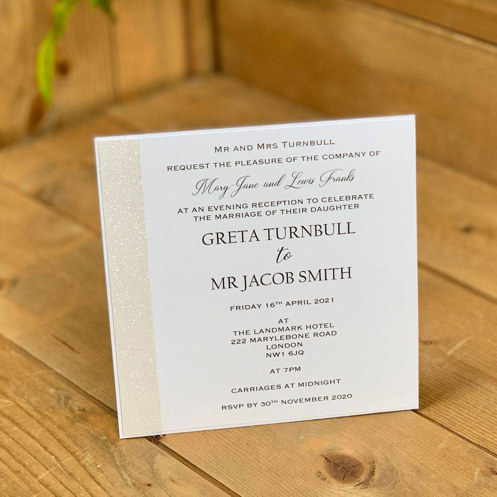 Wedding evening invitations, white with white glitter