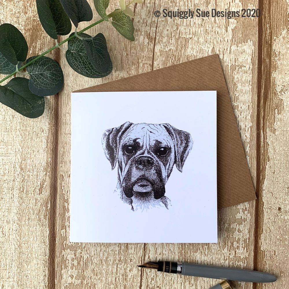Boxer dog card from an original pen & ink sketch