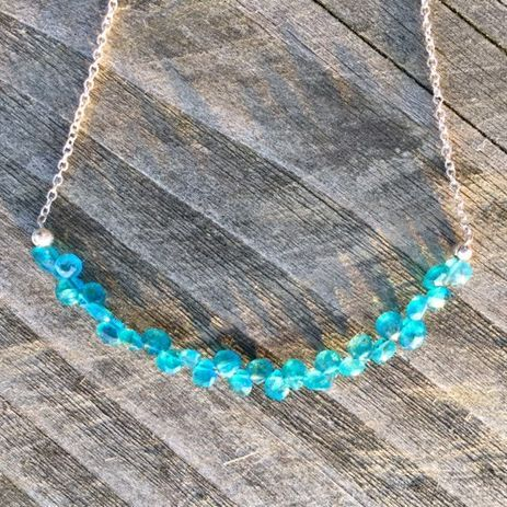 apatite, gemstone beads on silver chain