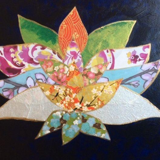 Lotus Flower Mixed Media Collage, Paper Lotus Flower, Yoga Studio Art, Zen Art, Water Lily Collage Art, Japanese Papers,
