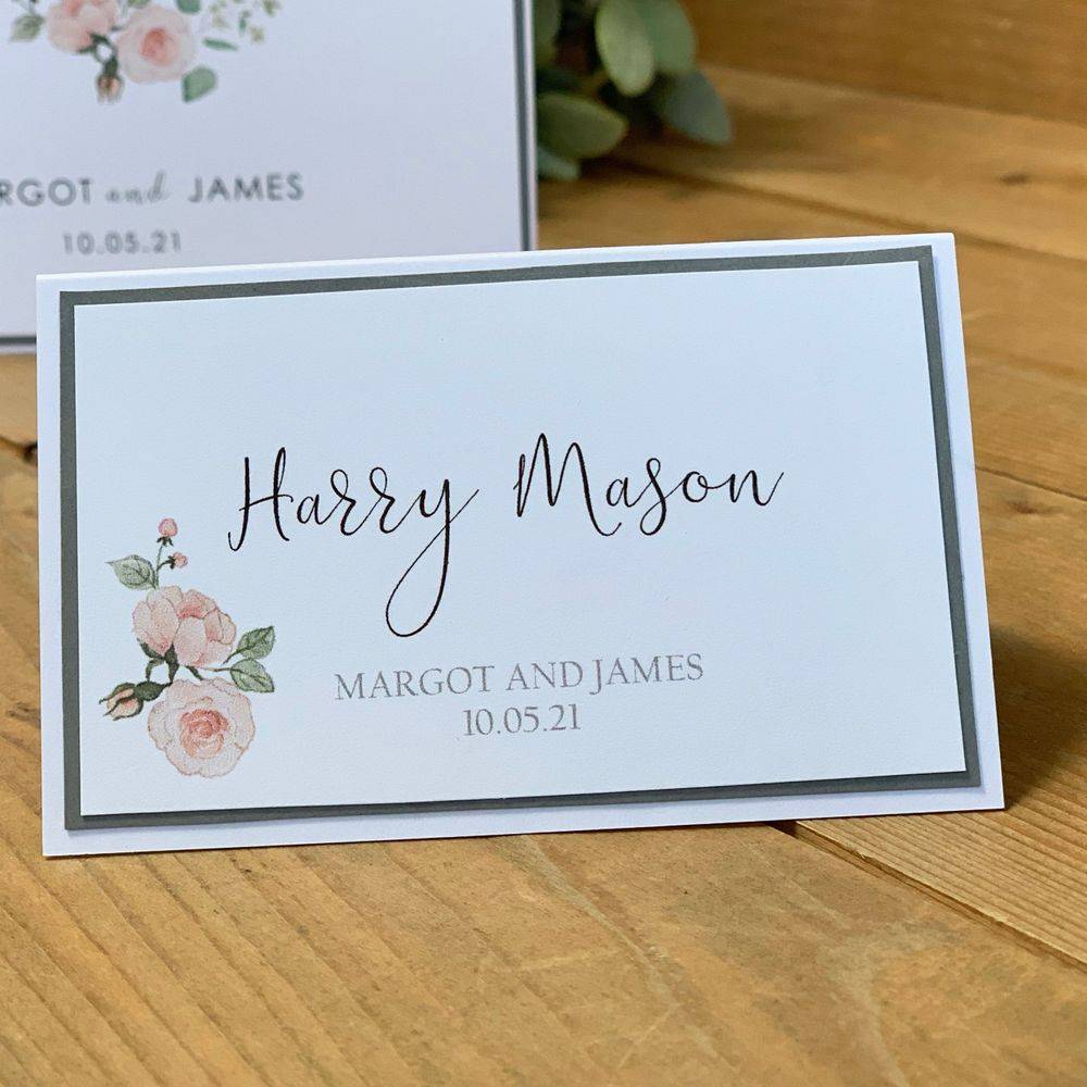 Wedding Place name, White and grey place name with pink rose
