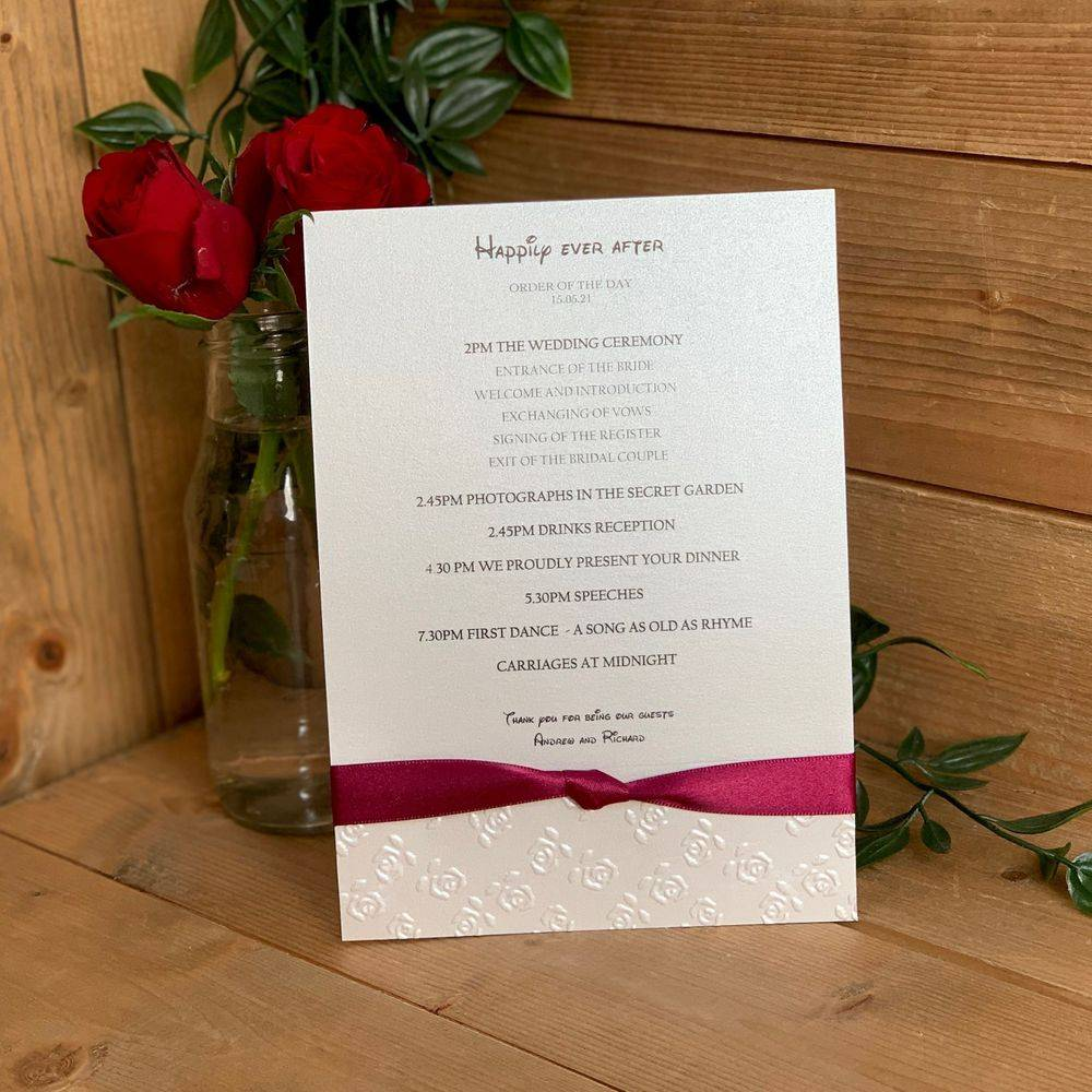 Disney Wedding,  Beauty and the Beast, Order of the Day card